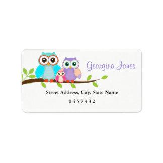 Cute Owl Family Girl Baby Shower Address Labels