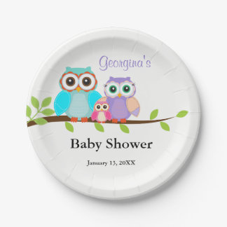 Cute Owl Family Girl Baby Shower Paper Plates