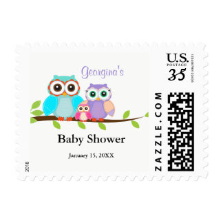 Cute Owl Family Girl Baby Shower Stamps