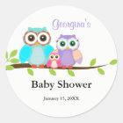 Cute Owl Family Girl Baby Shower Sticker