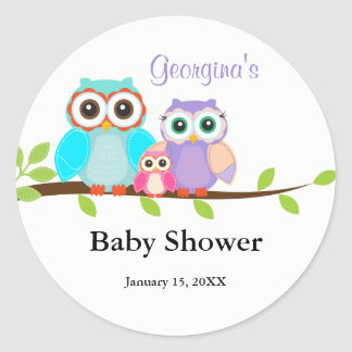 Cute Owl Family Girl Baby Shower Sticker