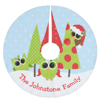 Cute Owl Family In The Snow Christmas Tree Skirt