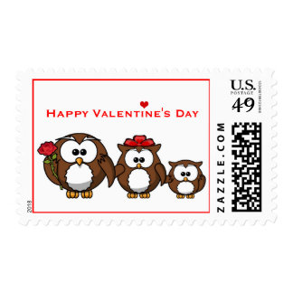 Cute Owl Family Mom Dad Child Valentine Rose Stamp
