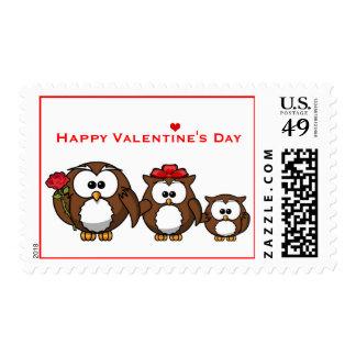 Cute Owl Family Mom Dad Child Valentine Rose Stamp