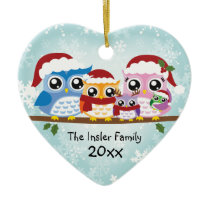 Cute Owl Family of Five Heart Ornament