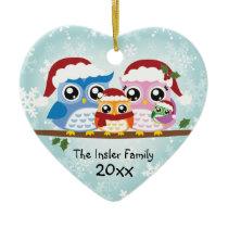 Cute Owl Family of Four Heart Ornament