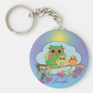 Cute Owl Family on Brench & Name Keychain