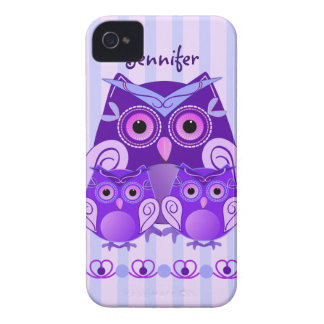 Cute owl family on striped background with Name iPhone 4 Cover