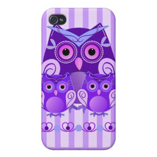 Cute owl family on striped background with Name iPhone 4/4S Cases