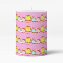 Cute Owl Family Pillar Candle