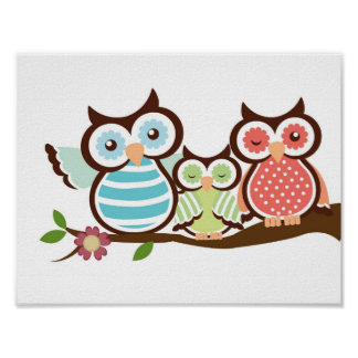 Cute Owl Family Poster