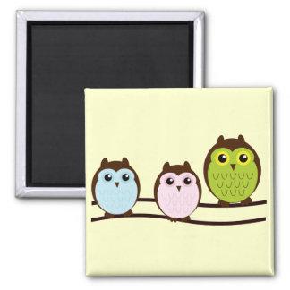 Cute Owl Family refrigerator magnet