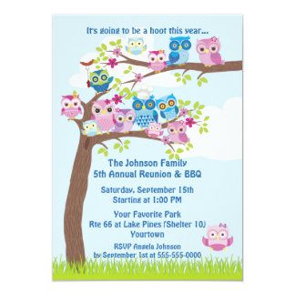 Cute Owl Family Reunion and BBQ Personalized Invitations