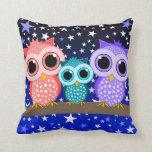 cute owl family throw pillows