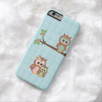 Cute Owl Family With Flower Barely There iPhone 6 Case