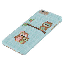 Cute Owl Family With Flower Barely There iPhone 6 Plus Case