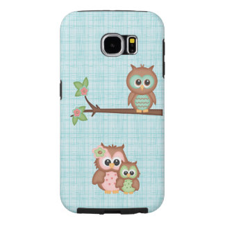 Cute Owl Family With Flower Samsung Galaxy S6 Cases
