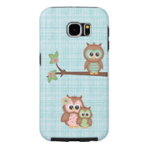 Cute Owl Family With Flower Samsung Galaxy S6 Case
