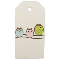 Cute Owl Family Wooden Gift Tags