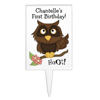 Cute Owl-First Birthday-HoOt! Cake Topper