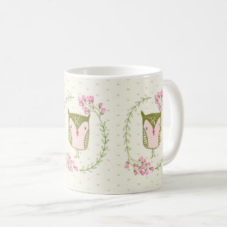 Cute Owl Floral Wreath and Hearts Coffee Mug
