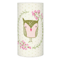 Cute Owl Floral Wreath and Hearts Flameless Candle