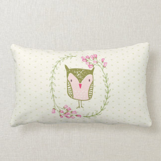 Cute Owl Floral Wreath and Hearts Lumbar Pillow