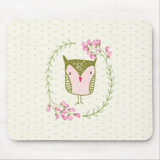 Cute Owl Floral Wreath and Hearts Mouse Pad