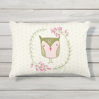 Cute Owl Floral Wreath and Hearts Outdoor Pillow