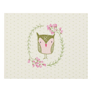 Cute Owl Floral Wreath and Hearts Panel Wall Art