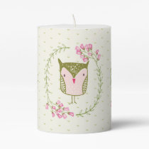 Cute Owl Floral Wreath and Hearts Pillar Candle