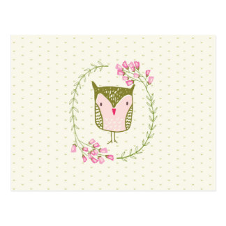 Cute Owl Floral Wreath and Hearts Postcard