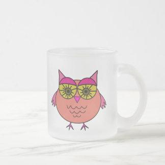 Cute Owl Frosted Glass Coffee Mug