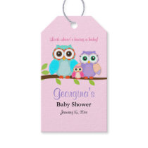 Cute Owl Girl Baby Shower Gift Tags