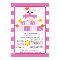 Cute Owl Girl Baby Shower Invitation