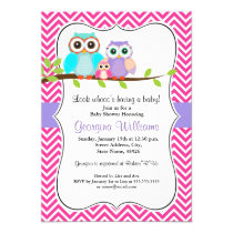 Cute Owl Girl Baby Shower Invitation - Pink