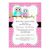 Cute Owl Girl Baby Shower Invitation. Pink Card
