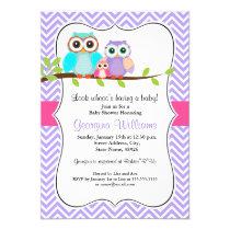 Owl baby shower invitations cute owl girl baby shower invitation pink purple filmwisefo