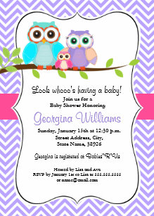 Owl baby shower invitations zazzle cute owl girl baby shower invitation pink purple filmwisefo