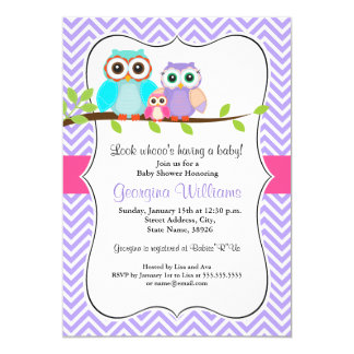 Cute Owl Girl Baby Shower Invitation Pink & Purple