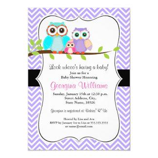 Cute Owl Girl Baby Shower Invitation / Purple