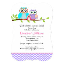 Cute Owl Girl Baby Shower Invitation Purple Pink