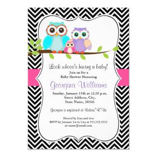 Cute Owl Girl Baby Shower Invite