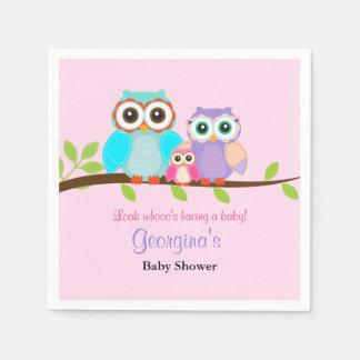 Cute Owl Girl Baby Shower Napkins
