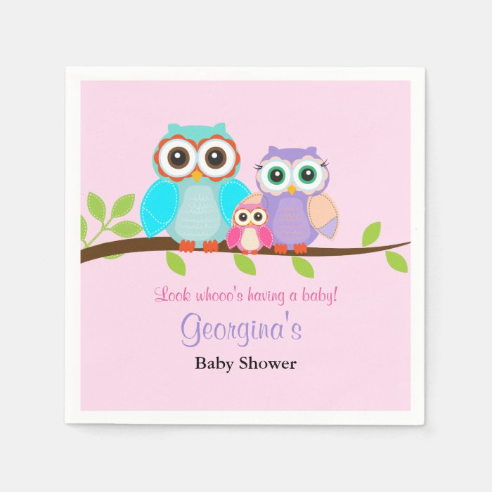 cute owl girl baby shower napkins zazzle