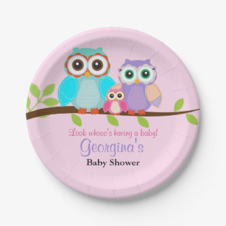 Cute Owl Girl Baby Shower Paper Plates