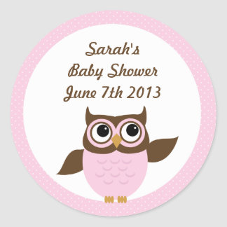 Cute Owl Girl Baby Shower Stickers