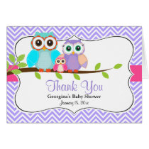 Cute Owl Girl Baby Shower Thank You Card