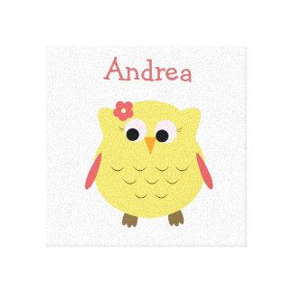 Cute Owl girl for nursery Canvas Print