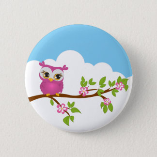 Cute Owl Girl on a Branch Button